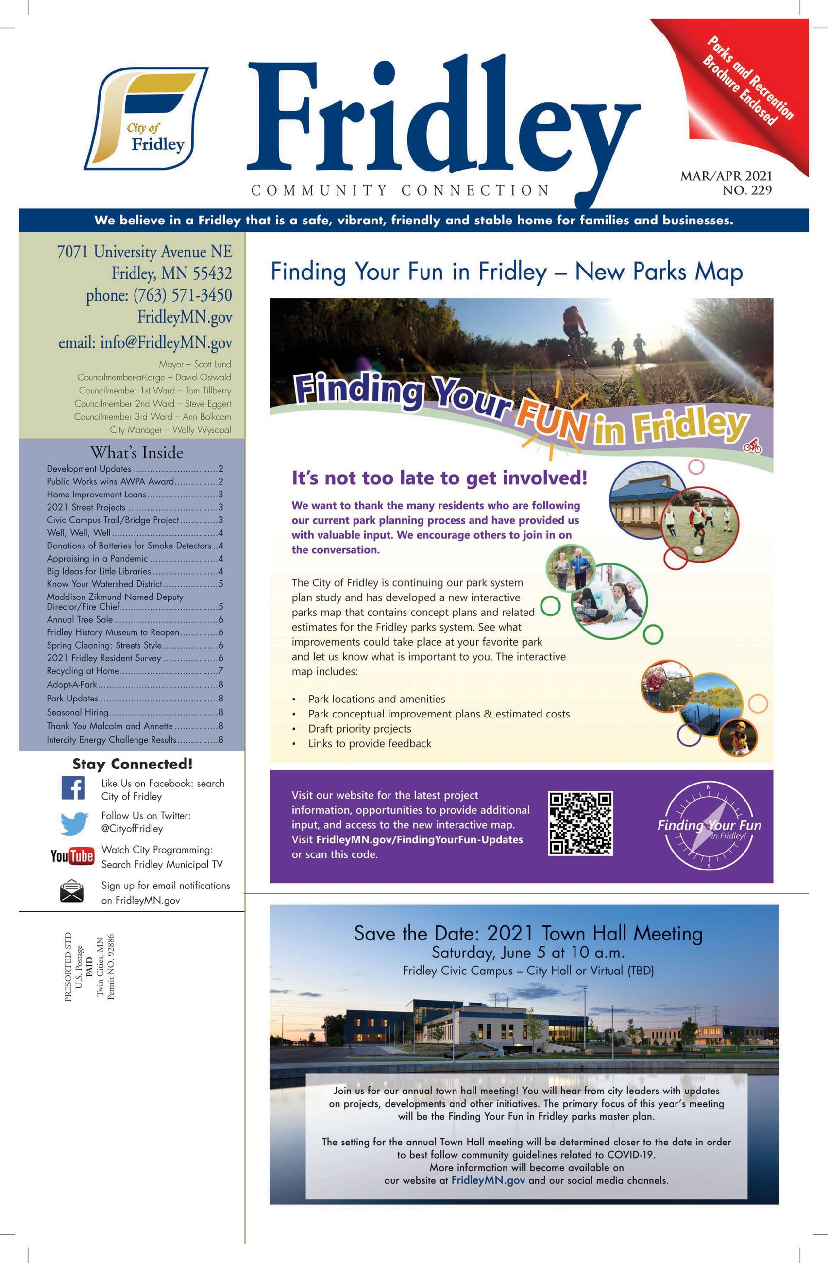 Front page of March April newsletter