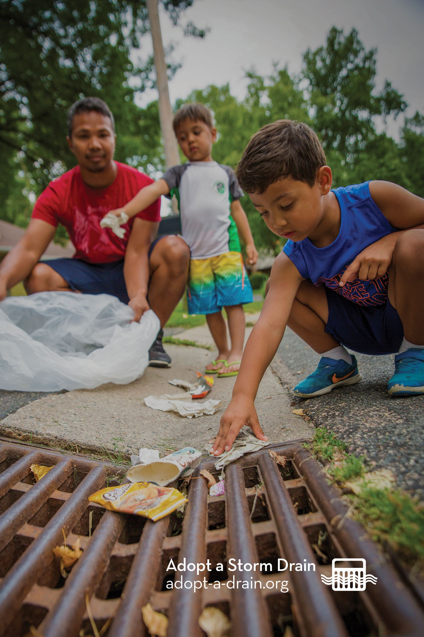 Kids cleaning drain