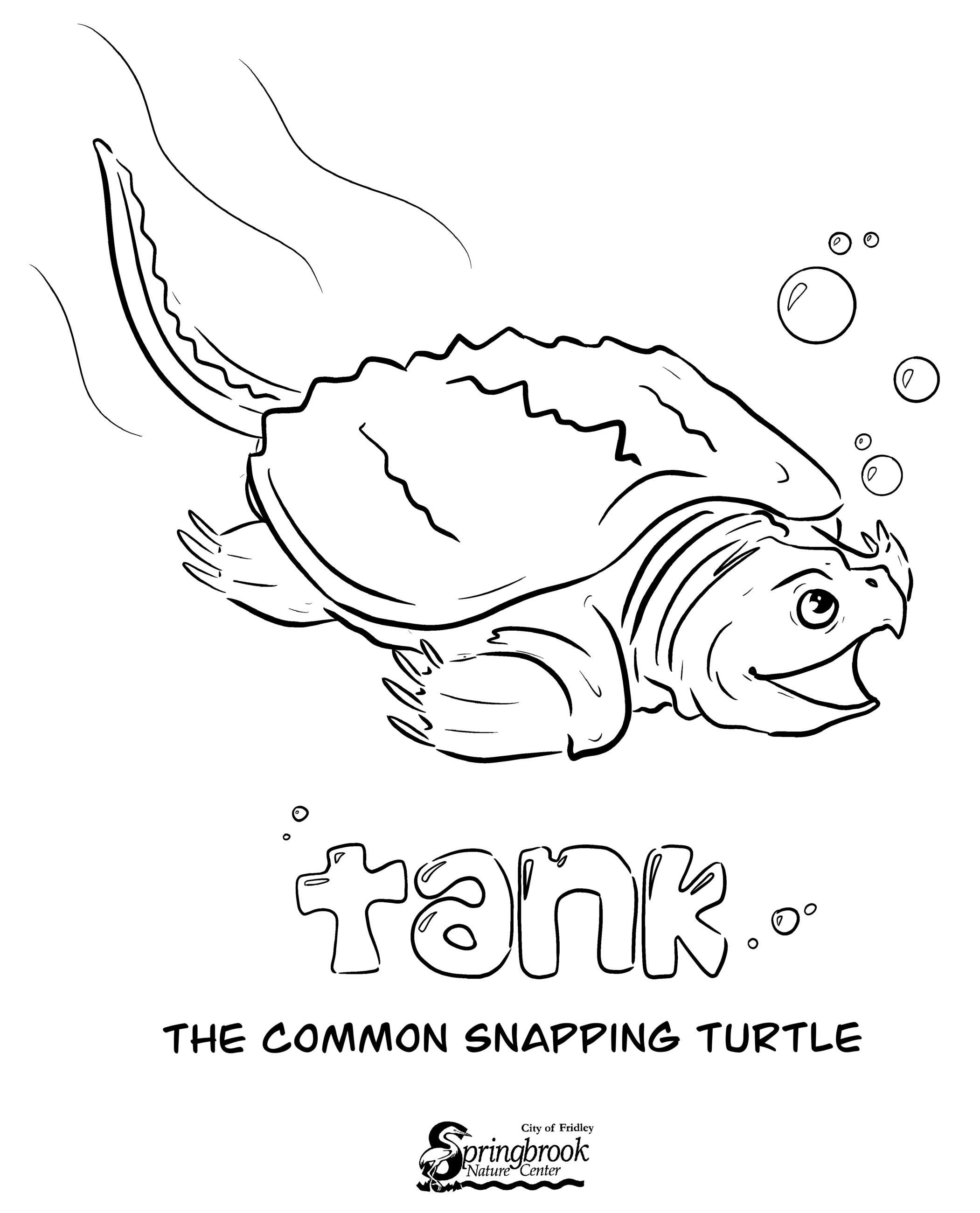 Tank Snapping Turtle Coloring Page Opens in new window